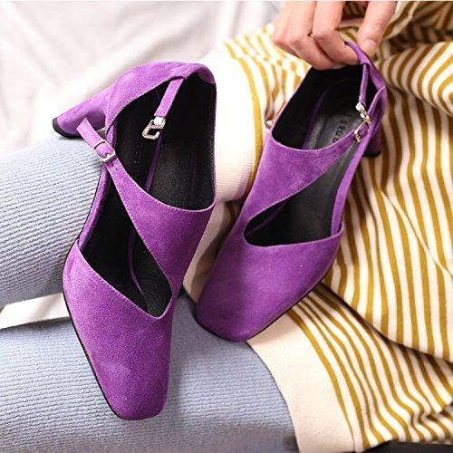 Jqdyl Tacones Zapatos de mujer solteros tacones ásperos tacones altos zapatos de pasarela Purple