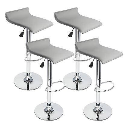 GotHobby 4 Pcs Gray Modern Bar Stool Swivel Chair Pub Counter Low Profile  Barstools