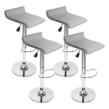 gothobby 4 pcs gray modern bar stool swivel chair pub counter low profile barstools