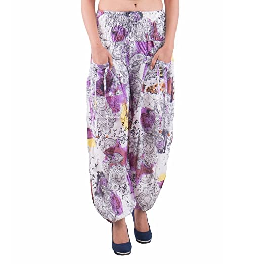 Indi Bargain Cotton Multi Color Beaded Drawstring Thin Sprinkle Printed Harem Trouser with Pockets Holi Print (Stretchable - Medium to XL Fit) Bottom Wear at amazon