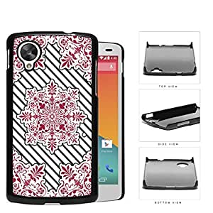Red Victoria Damask With Black Stripes Hard Plastic Snap On Cell Phone Case LG Nexus 5