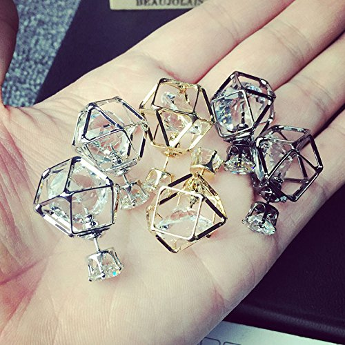 Double Sided Christmas Cards Walmart - Lucrative shop Brand Latest Fashion Double sided earring Contracted Geometric Alloy Hollow Stud Earrings for women stud Jewelry