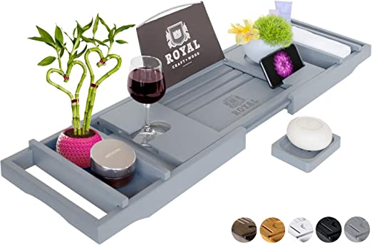 ... Royal Craft Wood Luxury Bamboo Bathtub Caddy Tray with Book and Wine Holder