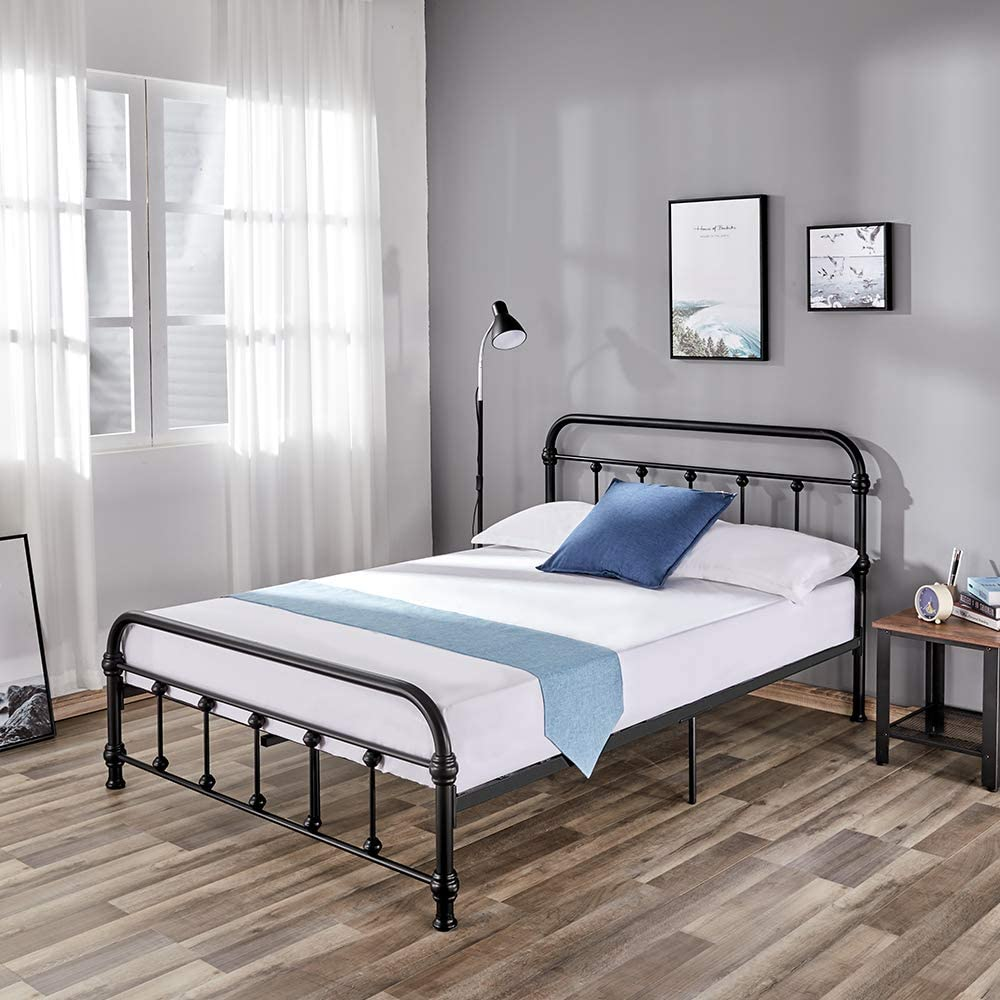 PaPaJet Full Metal Bed Frame Platform Bed, No Box Spring Needed with Metal Slats and Vintage Headboard Footboard, Full