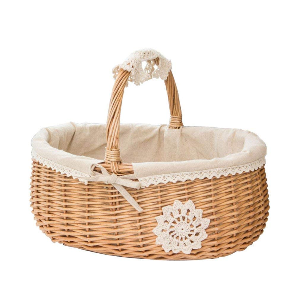 Wicker Basket Fruit Picnic Rattan Storage Box Snacks Tea Basket Willow and Cloth Wooden Storage Basket Split Willow Shopping Storage Basket with Cream Lining Picnic Basket