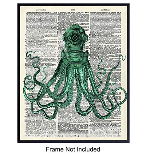 Octopus in Dive Helmet - Unframed Dictionary Wall Art Print - Steampunk - Great For Home Decor and Easy Gift Giving - Ready to Frame (8X10) Vintage Photo