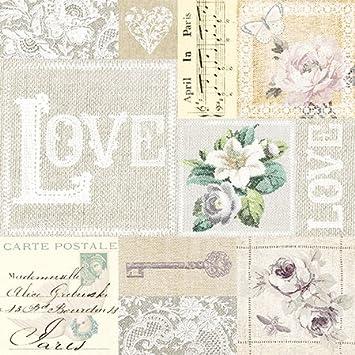20 Servietten Love Collage Vintage Hochzeit Hochzeitsmotiv 33x33cm