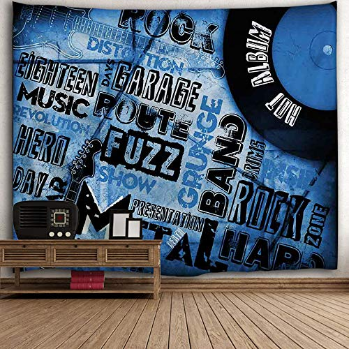 Whim-Wham Blue Black Jazz Rock Music Tapestry Fuzz Hippie Hip-Hop Record Labels Hero Polyester Light Weight Wall Hanging for Baby Crib Bedroom Living Room College.