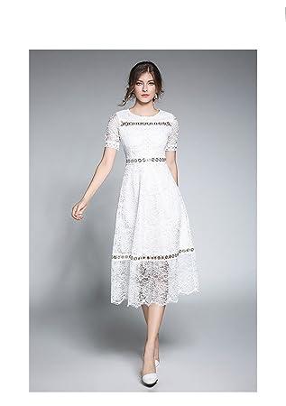 JIALELE Vestido Fiesta Mujer,De Fiesta La Mujer Y Encaje Vestido Encaje,Blanca,