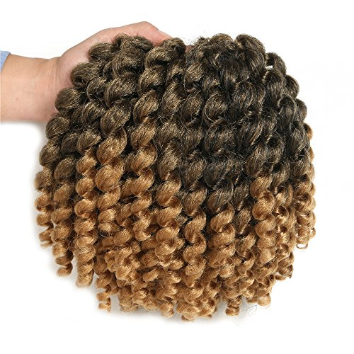Wand Curl Crochet Hair (8Inch,3Packs) Crochet Braids Jumpy Wand Twist Ombre Hair Extension JAMAICAN BOUNCE Synthetic Braiding Hair Soft Dread Locks (Light Brown) (Hair Locks Extensions)