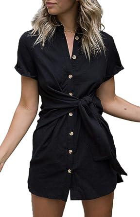 bfaaf563 ZESICA Women's Summer Short Sleeve V Neck Button Down Front Tie Casual  Short Tunic Dress Black