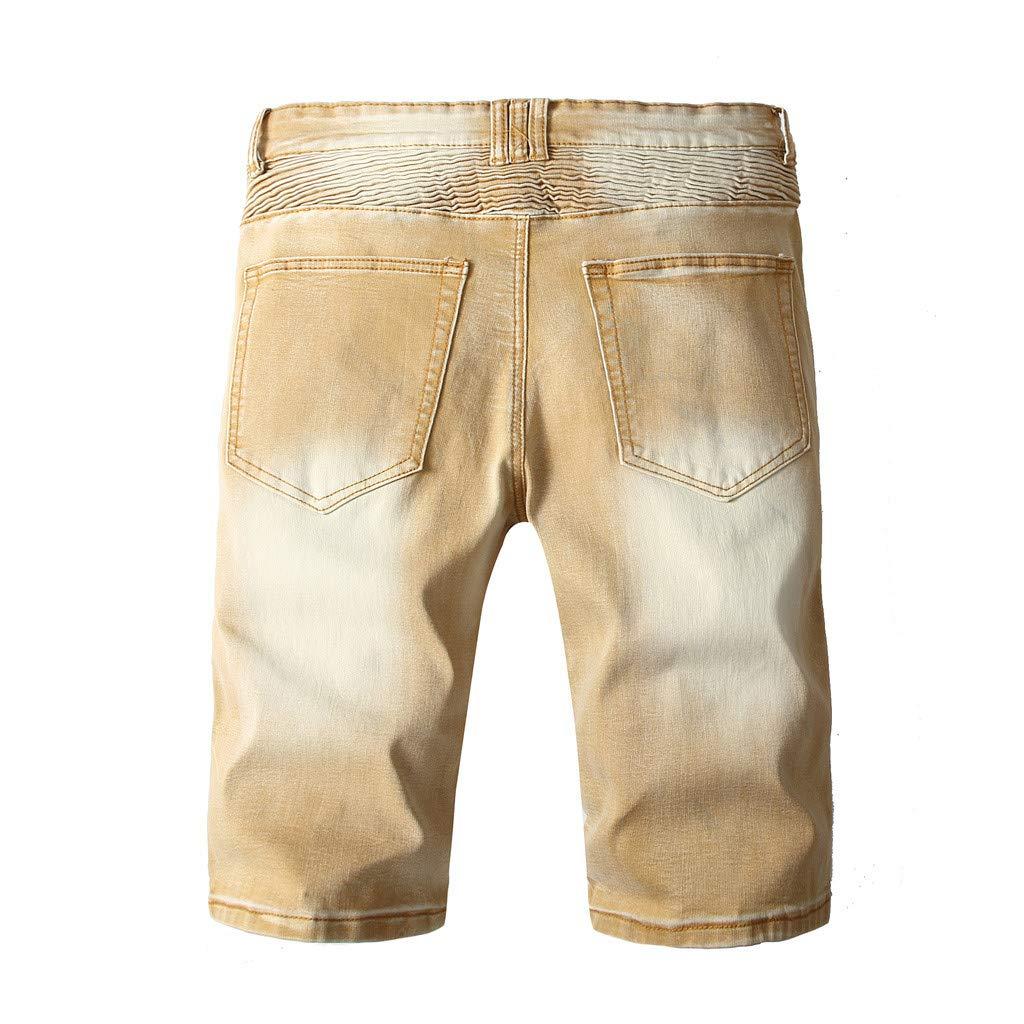 JERFER Pantalones Vaqueros Hombres Cremallera Arruga Ajuste ...