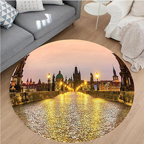 nel Microfiber Non-Slip Machine Washable Round Area Rug-s Bridge and Old Town in Prague Czech Republic with Classic Medieval Buildings Gold Brown area rugs Home Decor-Round 43