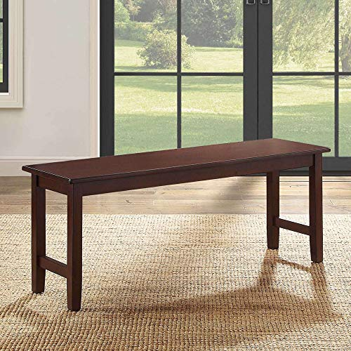 Farmhouse Dining Bench, Long Wood Seat for Kitchen, Dining Room, Narrow Entry Ways,Rustic Bench Seats Up to 2 Adults, Simple Elegance Classic Looks Rectangular, Espresso Dark Brown ()