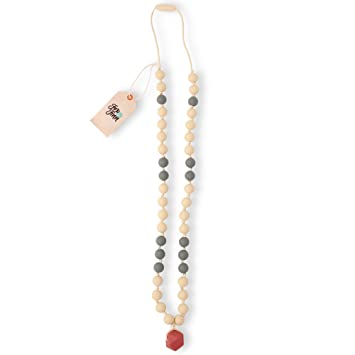 Fox and Finn 'Avery' Silicone Teething Necklace for Babies   Safety Knotted  Silk Rope   Does Not Pull Out