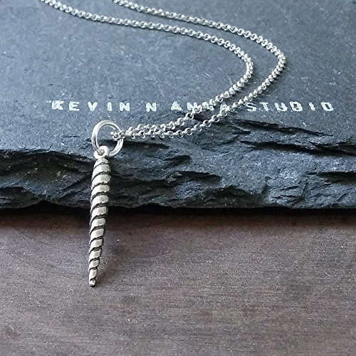 (Sterling Silver Small Unicorn Horn Charm Necklace, 18
