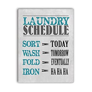 MODE HOME Laundry Schedule Wall Sign Decorative Wall Art Sign Bathroom Wall Decor