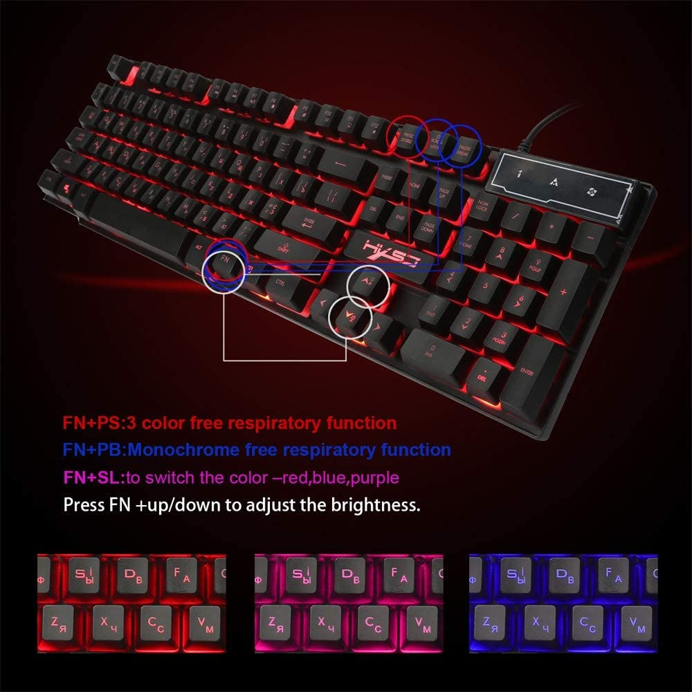 LED Backlight Illuminated Backlight USB Wired Comfortable Ergonomic Wrist Rest PC Mechanical Gaming Keyboard