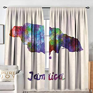 "NUOMANAN Sheer Curtains Jamaican,Abstract Watercolor Map of Jamaica Psychedelic Inspirations Country Brush Effect,Multicolor,Decor Collection Thermal/Room Darkening Window Curtains 84""x100"""