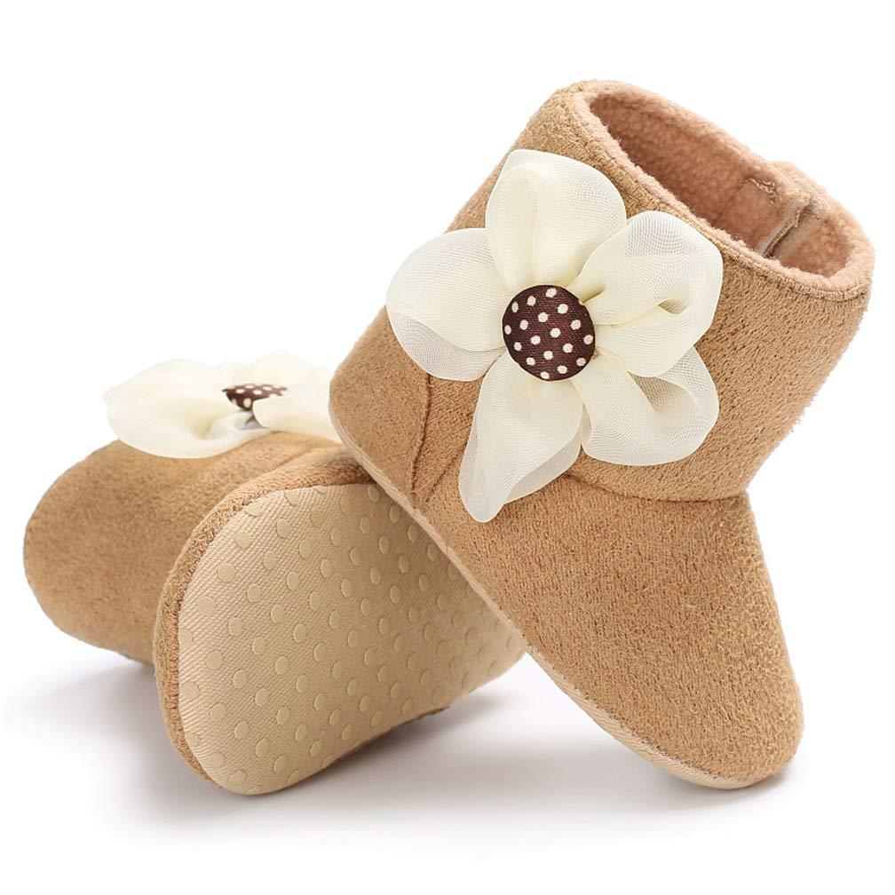 TMEOG Baby Girl Flower Fleece Cozy Booties Non-Skid Toddler Slippers Infant Winter Warm Socks Shoes