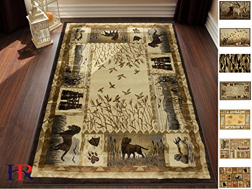 Hunting Design - Handcraft Rugs Cabin Rug – Lodge, Cabin Hunting Accent Area Rug – Modern Geometric Design Cabin Area Rug – Abstract, Multicolor Design– Hunting Dogs/Duck/Magnifier (4 x 5 feet)