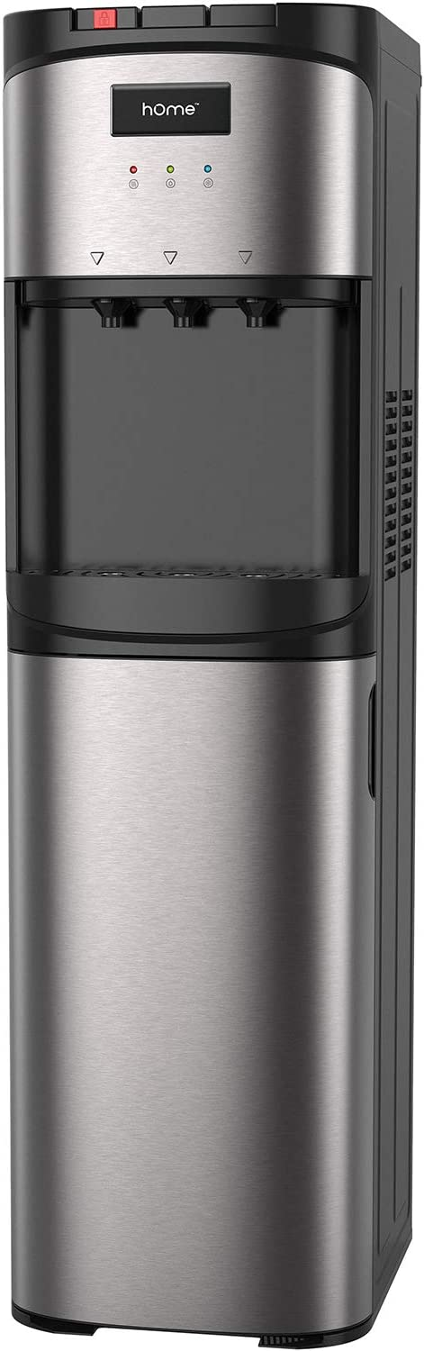 hOmeLabs Bottom Loading Water Dispenser for 5 Gallon Bottle - Hot Room and Cold Water Cooler in Stainless Steel Frame with Removable Drip Tray Safety Child Lock and LED Night Light