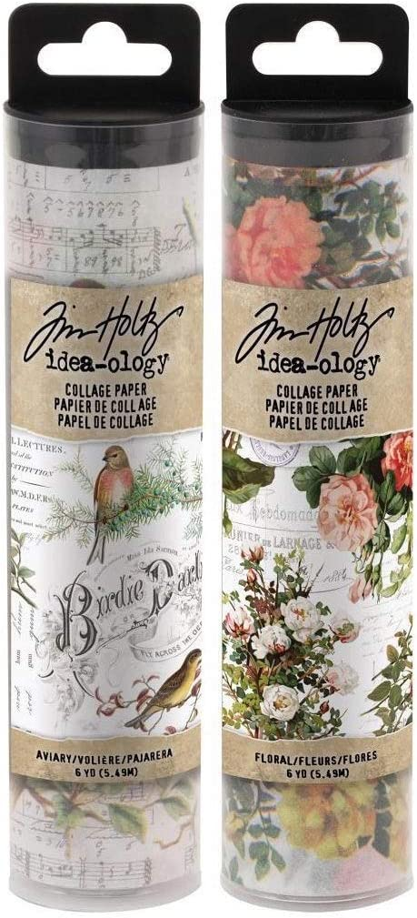 Tim Holtz Collage Paper Rolls - Aviary and Floral - 6 inches by 6 Yards - 2 Items