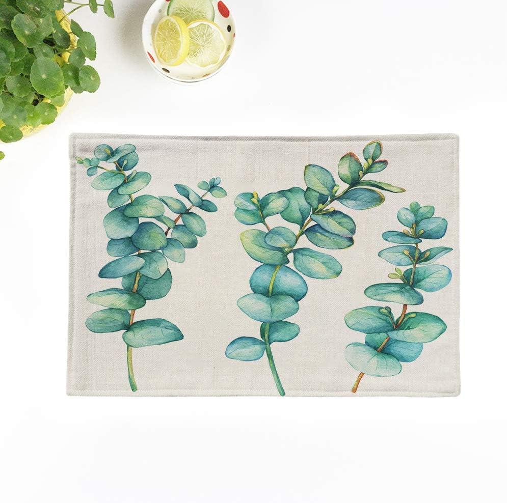 Topyee Placemats Set of 8 Watercolor Eucalyptus Flower Watercolour Succulent Tropical Blue Aquarel Cactus 18x12.5 Inch Non-Slip Washable Place Mats for Kitchen Dinner Table Mats Parties Decor