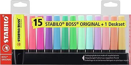 Oferta amazon: Marcador STABILO BOSS Original - Set de mesa con 9 colores fluorescentes y 6 colores pastel