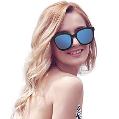 8658844ce623 VIVIENFANG Korean Oversized Square Frame Street Fashion Polarized Sunglasses  For Unisex P2130A Blue