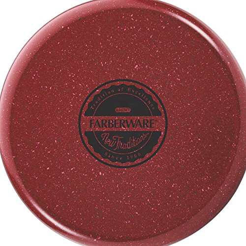Farberware New Traditions Speckled Aluminum Nonstick 14-Piece Cookware Set, Red