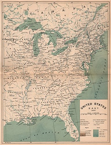 Amazon Com United States East 1892 Usa 1885 Old Map Antique