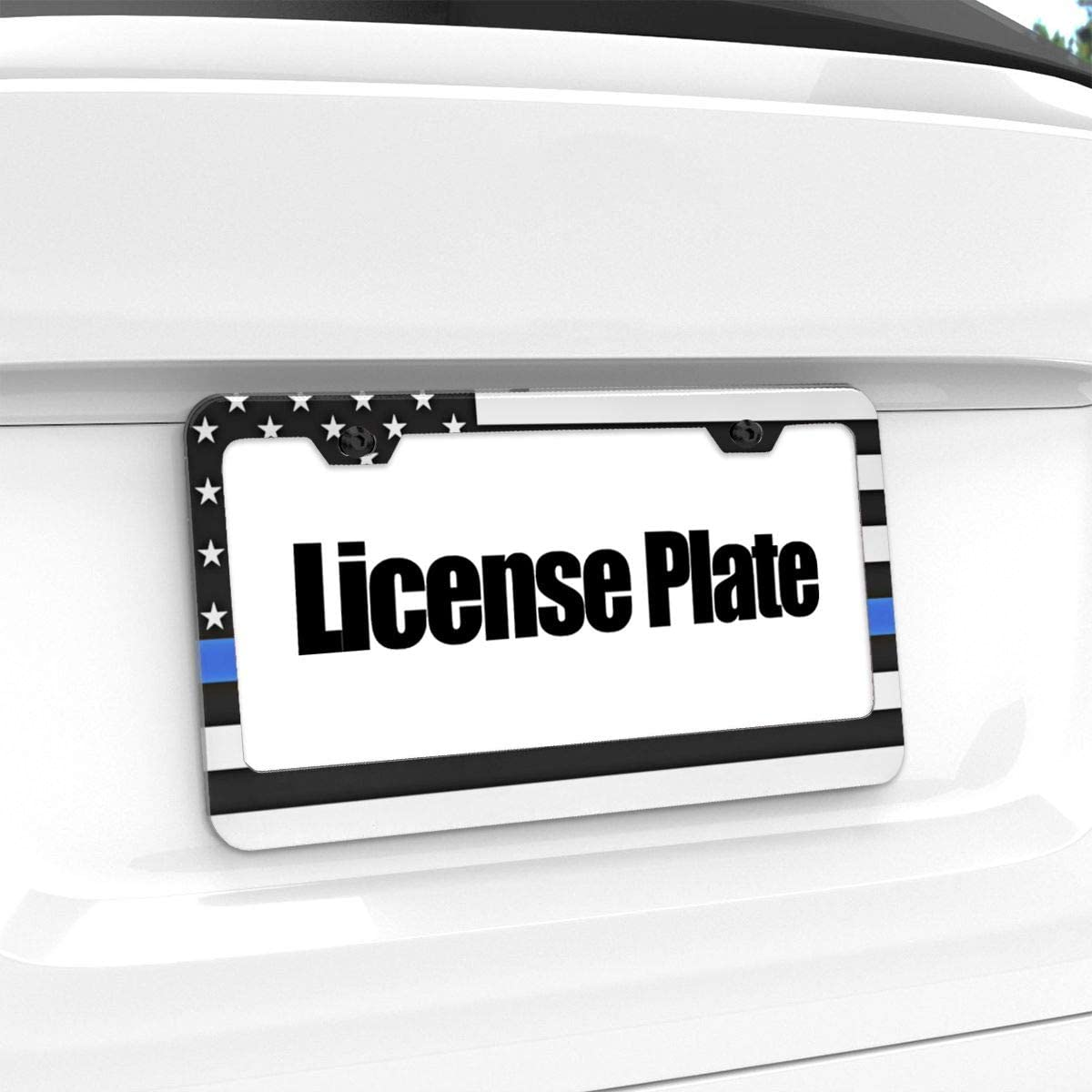 DZGlobal Personalized License Plate Thin Blue Line American Flag Chrome License Plate Frame Funny Novelty License Plate Cover Holder