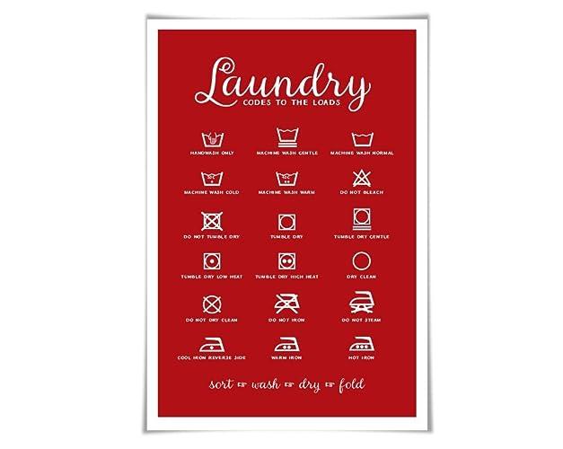 Amazon Laundry Symbols Laundry Room Art Poster 60 Background