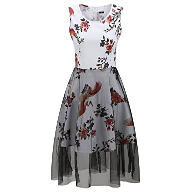 KeKeD23921 Vintage Dresses Sleeveless Retro Print Summer Dress Women Retro Party Dress Female Rockabilly Fall Swing