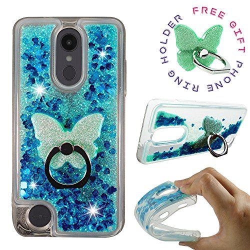 LG Aristo 2 Plus Case, LG Tribute Dynasty LG Fortune 2 LG Rebel 3 LTE, LG Zone 4, LG K8 2018 [Liquid Glitter Sparkly Bling] Clear Case ShockProof Cover w/[Phone Ring Holder Stand] by Zase (Teal Blue)