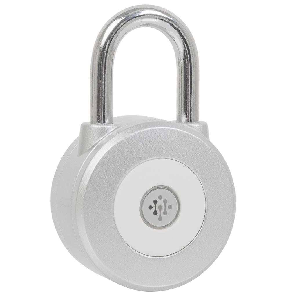 Ivation Smart Bluetooth Wireless Electronic Padlock Metal 3 and a ½ Inch – Works w/iOS & Android Phones – sheds, safety deposit boxes, lockers & more the ultimate in security – Control your Lock from your Phone - Silver