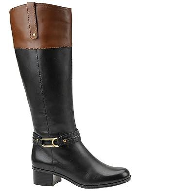 Bandolino Women's Coloradeew Black/Cognac Leather Boot 5.5 M
