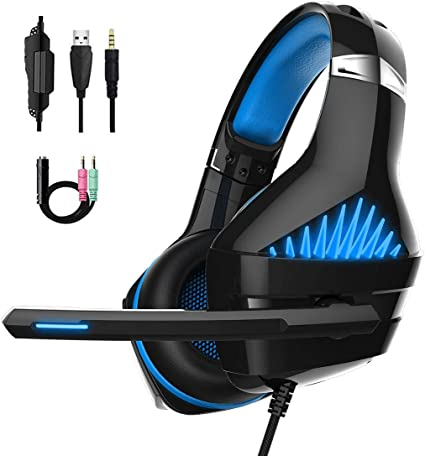 QKa Gaming Headset with Mic for PS4 Game Headphone for PC Smartphone Notebook with LED Light Noise Cannelling with Microphone
