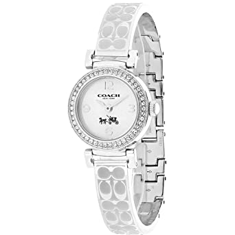 Coach Womens 14502201 Madison Signature Silver Stainless Bangle Glitz Watch