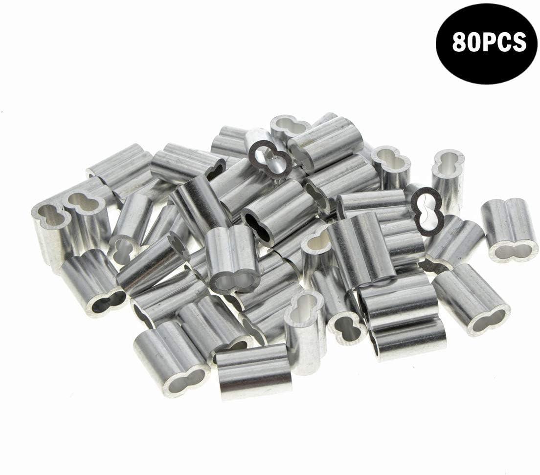 1 mm Kitchen-dream Colliers de c/âble en aluminium de manchons de c/âble m/étallique de diam/ètre de 0,04 pouce 50PCS