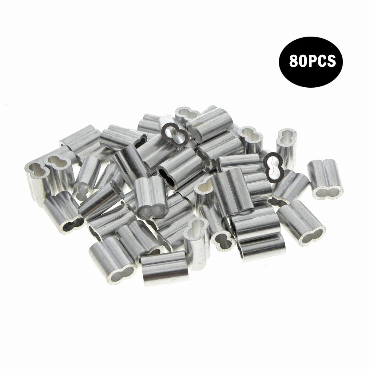 1mm Diameter Wire Rope Aluminum Sleeves Clip Fittings Cable Crimps 100PCS Kitchen-dream 0.04 inch 50PCS//80PCS//100PCS