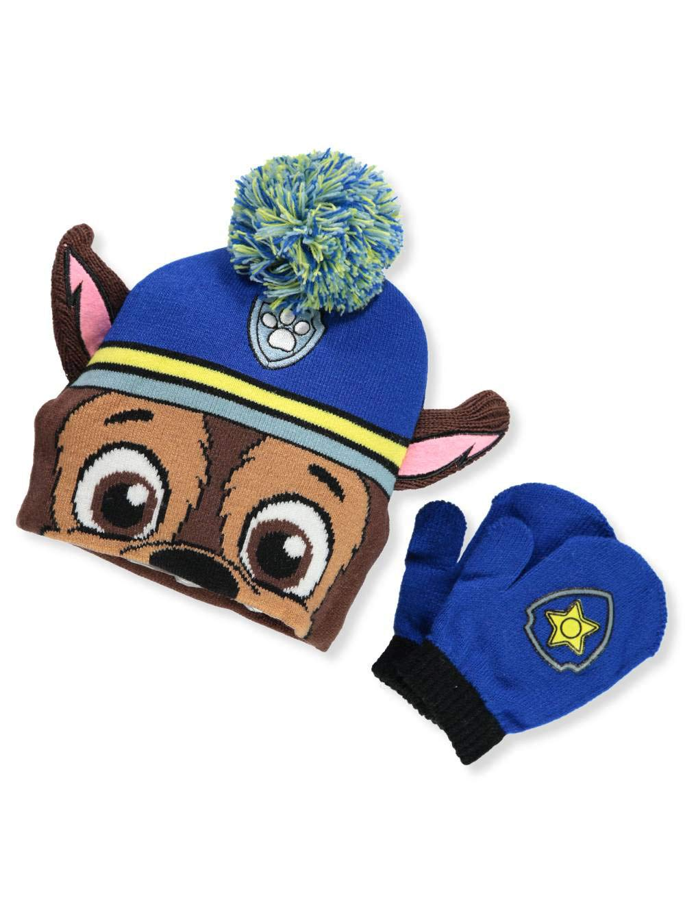 Paw Patrol Big Boys' Beanie & Mittens Set - brown/blue, one size