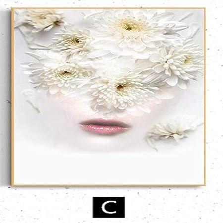 Geiqianjiumai Flor nórdica Mujer Lienzo Arte Cartel Pintura ...