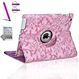 Zeox Apple iPad Air Case - 360 Degree Rotating Stand Case Cover with Auto Sleep / Wake Feature for iPad Air (iPad 5th Generation) 2013 Model- Flower Purple