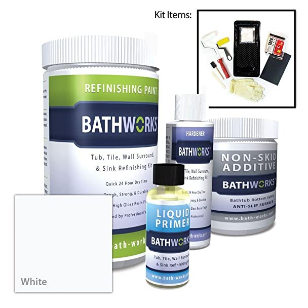 BATHWORKS 22-oz. DIY Bathtub Refinish Kit with SlipGuard- White ...