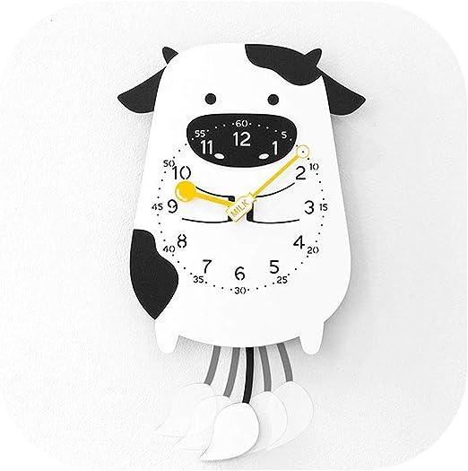 Amazon Com Cartoon Swing Kids Wall Clock Home Decor Pendulum Watch Animal Decorative Clocks For Walls A Home Kitchen