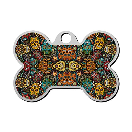 Pet ID Tags for Dogs & Cats Mexican Sugar Skulls Double Sided Bone Dog Tag ()