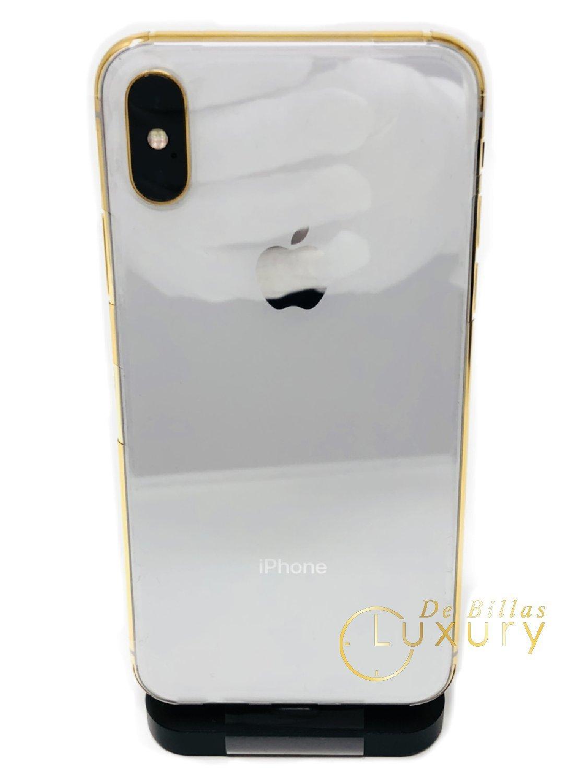 24K Gold Plated iPhone Xs 256 GB Silver - Unlocked Custom