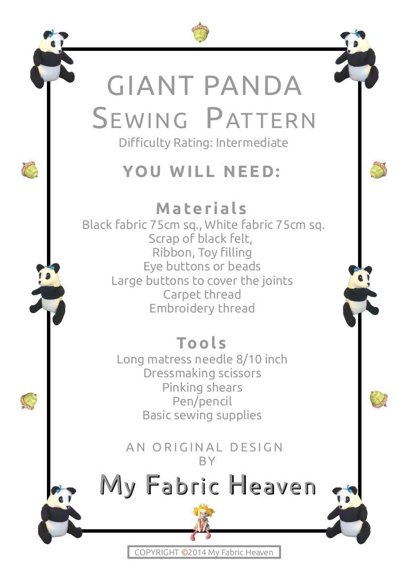 Diseño de oso PANDA gigante diseño de patrón de costura para ...